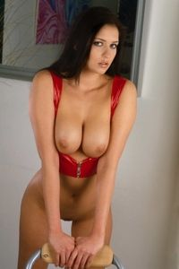 Nice Titted Brunette In Red